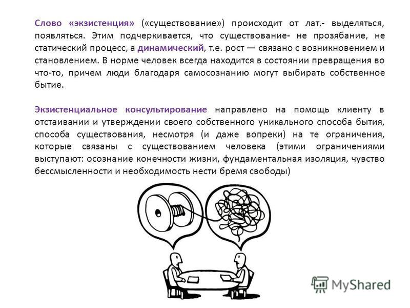 Слово «экзистенция» («существование») происходит от лат.- выделяться, появляться. Этим подчеркивается, что существование- не прозябание, не статический процесс, а динамический, т.е. рост связано с возникновением и становлением. В норме человек всегд