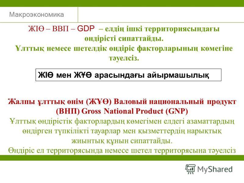 Макроэкономика ЖІӨ – ВВП – GDP – елдің ішкі территориясындағы өндірісті сипаттайды. Ұлттық немесе шетелдік өндіріс факторларының көмегіне тәуелсіз. Жалпы ұлттық өнім (ЖҰӨ) Валовый национальный продукт (ВНП) Gross National Product (GNP) Ұлттық өндіріс