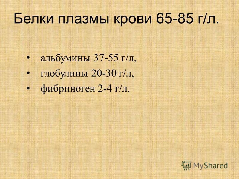 Белки плазмы крови 65-85 г/л. альбумины 37-55 г/л, глобулины 20-30 г/л, фибриноген 2-4 г/л.
