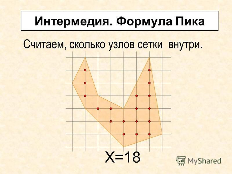 Интермедия. Формула Пика Считаем, сколько узлов сетки внутри. Х=18