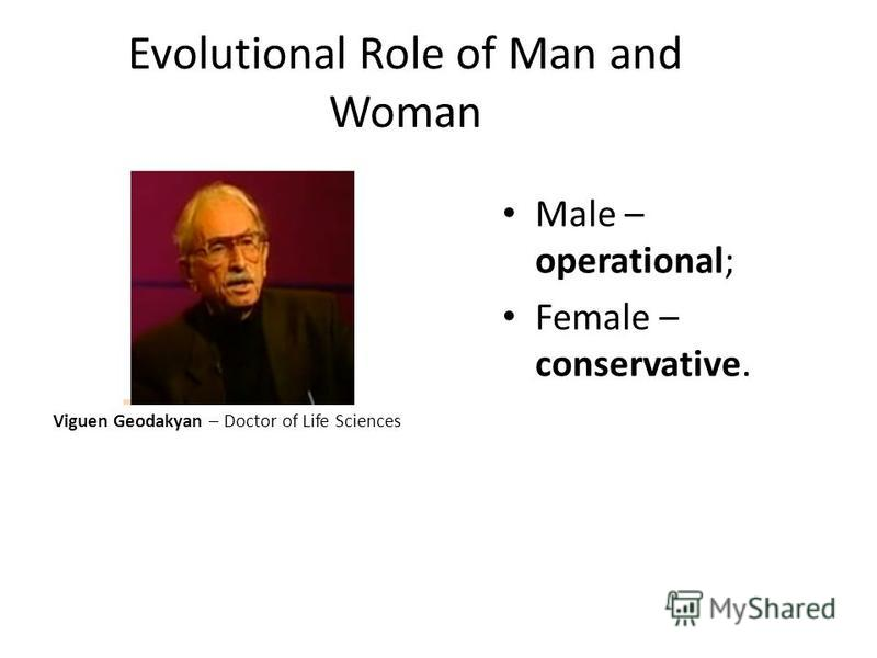 Evolutional Role of Man and Woman Viguen Geodakyan – Doctor of Life Sciences Male – operational; Female – conservative.