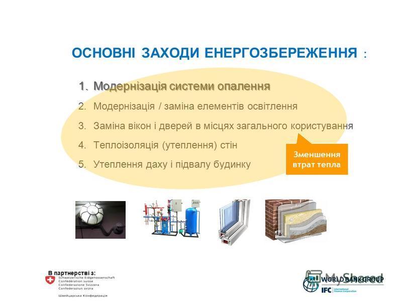 В партнерстві з: ОСНОВНІ ЗАХОДИ ЕНЕРГОЗБЕРЕЖЕННЯ : 1.Модернізація системи опалення 2.Модернізація / заміна елементів освітлення 3.Заміна вікон і дверей в місцях загального користування 4.Теплоізоляція (утеплення) стін 5.Утеплення даху і підвалу будин