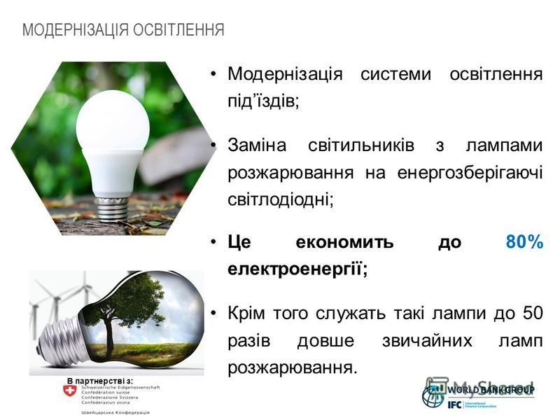 В партнерстві з: Модернізація системи освітлення підїздів; Заміна світильників з лампами розжарювання на енергозберігаючі світлодіодні; Це економить до 80% електроенергії; Крім того служать такі лампи до 50 разів довше звичайних ламп розжарювання. МО