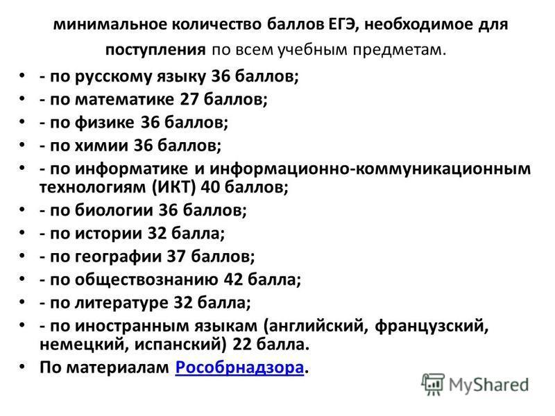 минимальное количество баллов ЕГЭ, необходимое для поступления по всем учебным предметам. - по русскому языку 36 баллов; - по математике 27 баллов; - по физике 36 баллов; - по химии 36 баллов; - по информатике и информационно-коммуникационным техноло