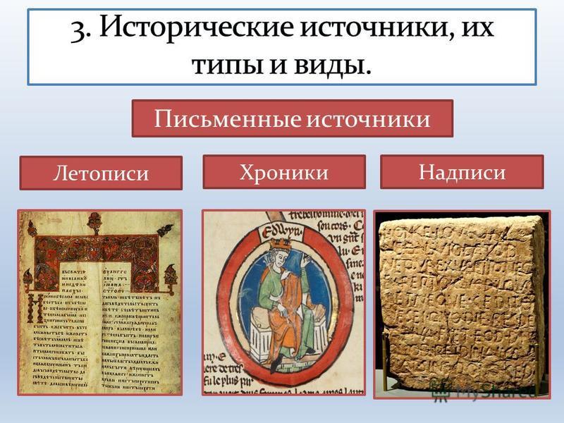 Летописи Хроники Надписи Письменные источники