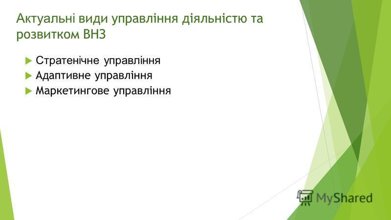 Актуальні види управління діяльністю та розвитком ВНЗ Стратенічне управління Адаптивне управління Маркетингове управління