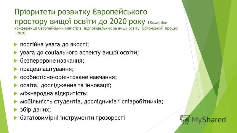 Пріоритети розвитку Європейського простору вищої освіти до 2020 року ( Комюніке конференції Європейських Міністрів, відповідальних за вищу освіту