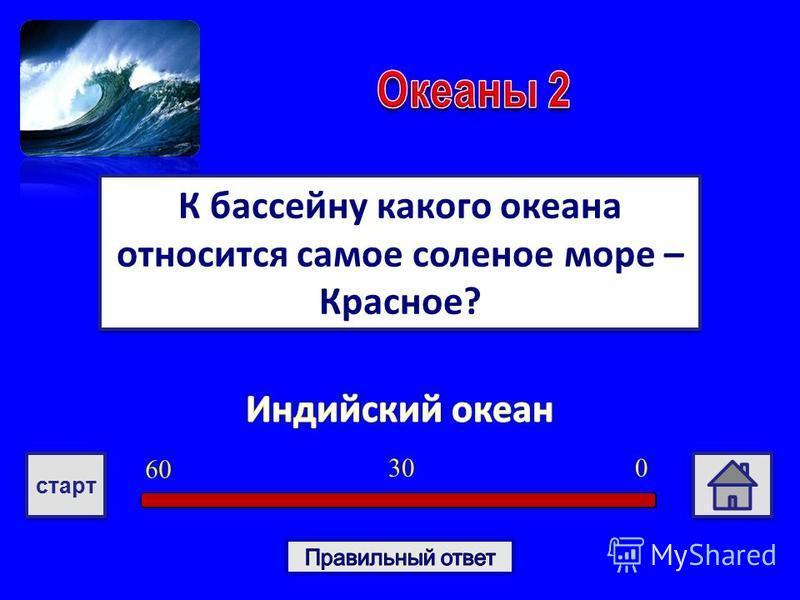 К бассейну какого океана относится самое соленое море – Красное? 030 6060 старт