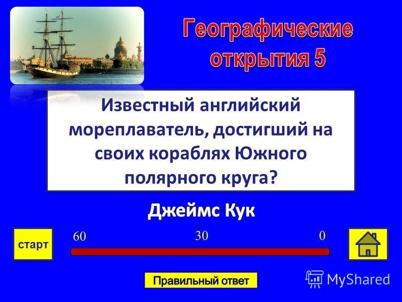 Известный английский мореплаватель, достигший на своих кораблях Южного полярного круга? 030 6060 старт