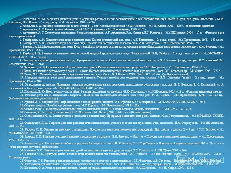 1. Алексеева, М. М. Методика развития речи и обучения родному языку дошкольников: Учеб. пособие для студ. высш. и сред. пед. учеб. заведений. / М.М. Алексеева, В.И. Яшина. – 2-е изд., испр. – М.: Академия, 1998. – 400 с. 2. Алябьева, Е. А. Развитие в