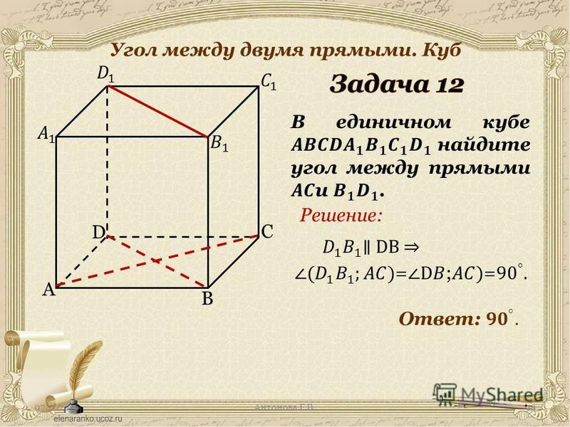 07.11.2016Антонова Г.В. Угол между двумя прямыми. Куб A C B D Решение: 14
