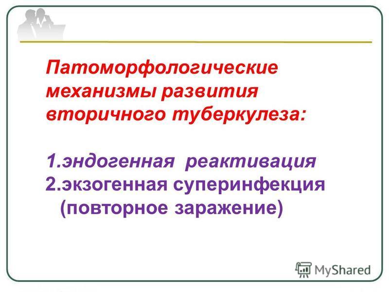 Патоморфологические механизмы развития вторичного туберкулеза: 1. эндогенная реактивация 2. экзогенная суперинфекция (повторное заражение)