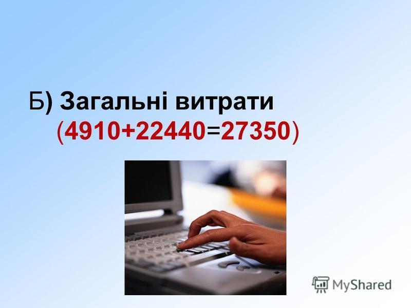 Б) Загальні витрати (4910+22440=27350)