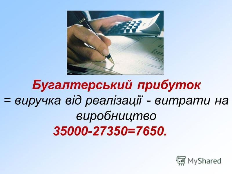 Бугалтерський прибуток = виручка від реалізації - витрати на виробництво 35000-27350=7650.