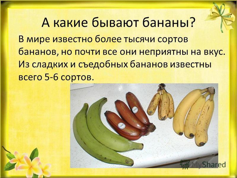 А какие бывают бананы? В мире известно более тысячи сортов бананов, но почти все они неприятны на вкус. Из сладких и съедобных бананов известны всего 5-6 сортов.