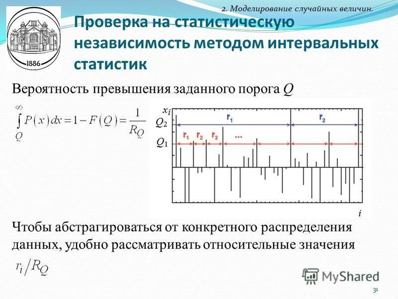 Вероятность превышения заданного порога Q Чтобы абстрагироваться от конкретного распределения данных, удобно рассматривать относительные значения Проверка на статистическую независимость методом интервальных статистик 2. Моделирование случайных велич