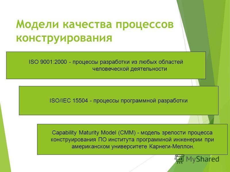 Модели качества процессов конструирования ISO/IEC 15504 - процессы программной разработки ISO 9001:2000 - процессы разработки из любых областей человеческой деятельности Capability Maturity Model (СММ) - модель зрелости процесса конструирования ПО ин