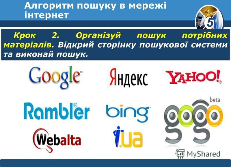 5 © Вивчаємо інформатику teach- inf.at.uateach- inf.at.ua Алгоритм пошуку в мережі інтернет Крок 2. Організуй пошук потрібних матеріалів. Відкрий сторінку пошукової системи та виконай пошук.