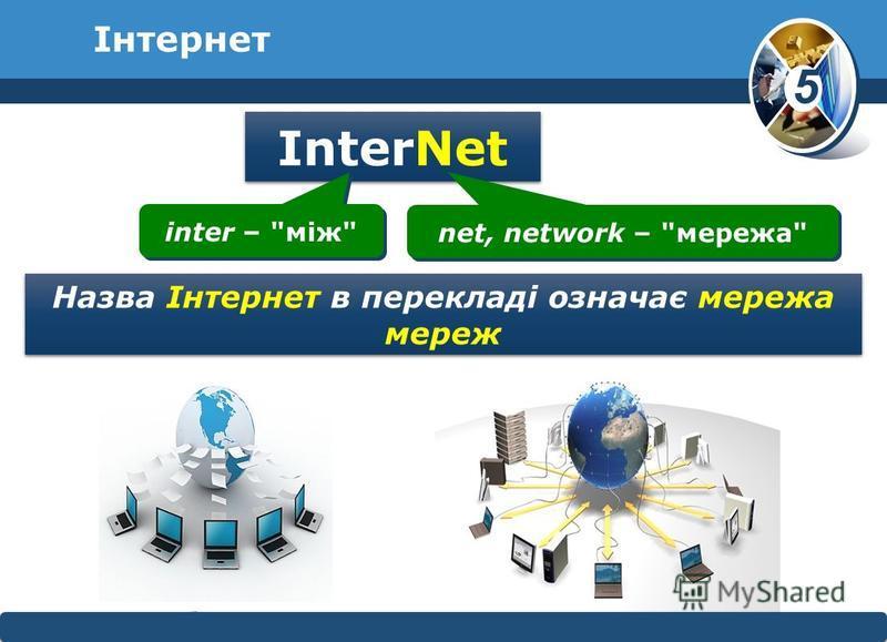 5 © Вивчаємо інформатику teach- inf.at.uateach- inf.at.ua Інтернет InterNet inter – між net, network – мережа Назва Інтернет в перекладі означає мережа мереж