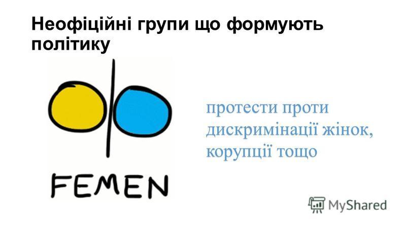 Неофіційні групи що формують політику протести проти дискримінації жінок, корупції тощо