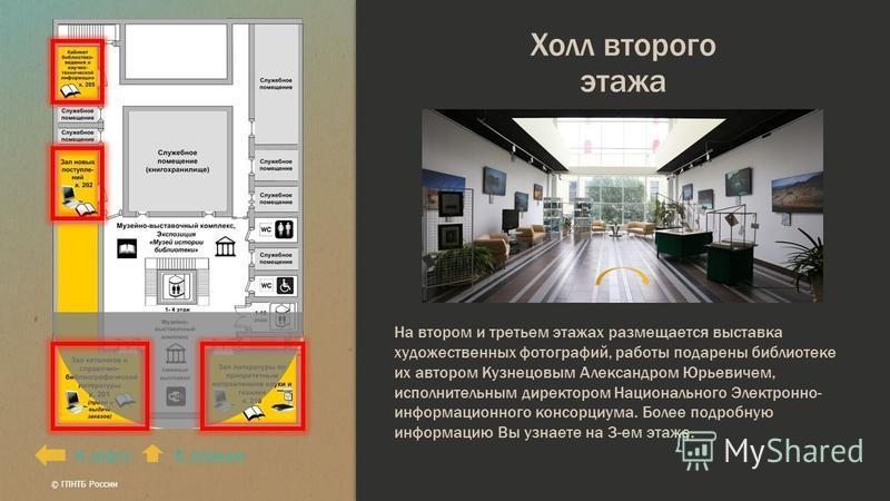 Холл второго этажа К лифтуК этажам На втором и третьем этажах размещается выставка художественных фотографий, работы подарены библиотеке их автором Кузнецовым Александром Юрьевичем, исполнительным директором Национального Электронно- информационного