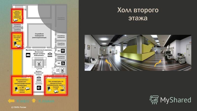 Холл второго этажа К лифтуК этажам © ГПНТБ России