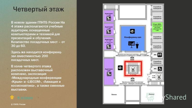 Четвертый этаж В новом здании ГПНТБ России На 4 этаже располагаются учебные аудитории, оснащенные компьютерами и техникой для презентаций и обучения. Количество посадочных мест – от 30 до 60. Здесь же находится конференц- зал вместимостью 200 посадоч