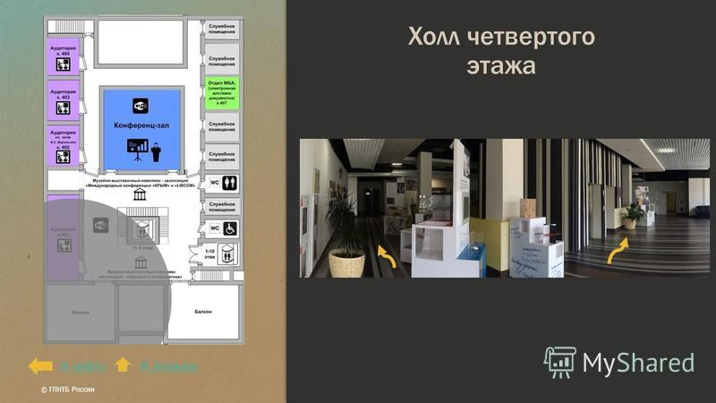 Холл четвертого этажа К этажамК лифту © ГПНТБ России