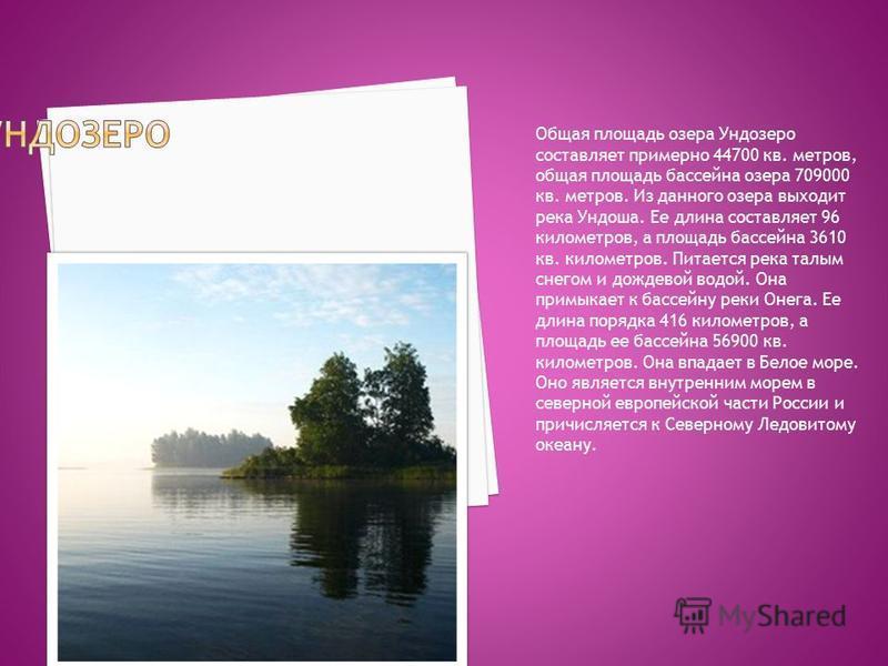 Общая площадь озера Ундозеро составляет примерно 44700 кв. метров, общая площадь бассейна озера 709000 кв. метров. Из данного озера выходит река Ундоша. Ее длина составляет 96 километров, а площадь бассейна 3610 кв. километров. Питается река талым сн