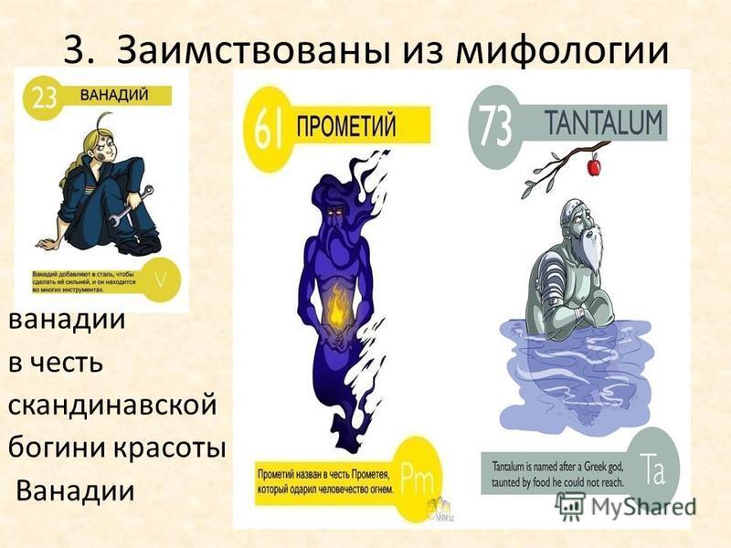 3. Заимствованы из мифологии ванадий в честь скандинавской богини красоты Ванадии