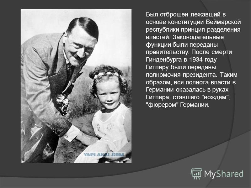 Был отброшен лежавший в основе конституции Веймарской республики принцип разделения властей. Законодательные функции были переданы правительству. После смерти Гинденбурга в 1934 году Гитлеру были переданы полномочия президента. Таким образом, вся пол
