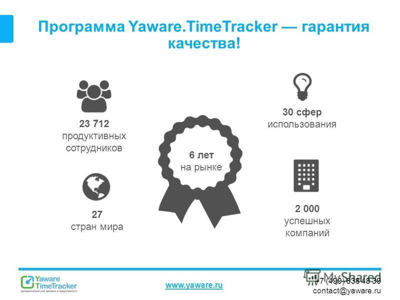 +7 (499) 638 48 39 contact@yaware.ru www.yaware.ru Программа Yaware.TimeTracker гарантия качества! 23 712 продуктивных сотрудников 6 лет на рынке 30 сфер использования 2 000 успешных компаний 27 стран мира