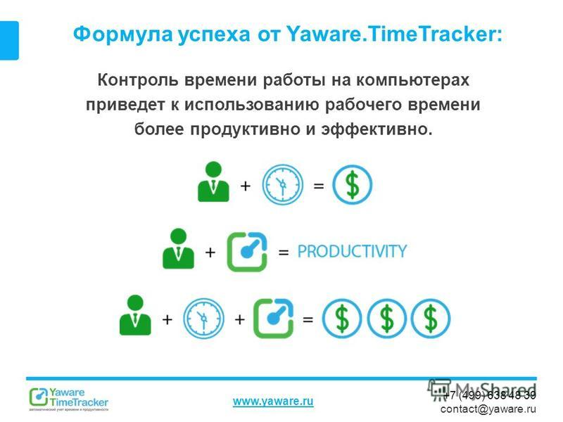 +7 (499) 638 48 39 contact@yaware.ru www.yaware.ru Формула успеха от Yaware.TimeTracker: Контроль ввремени работы на компьютерах приведет к использованию рабочего ввремени более продуктивно и эффективно.