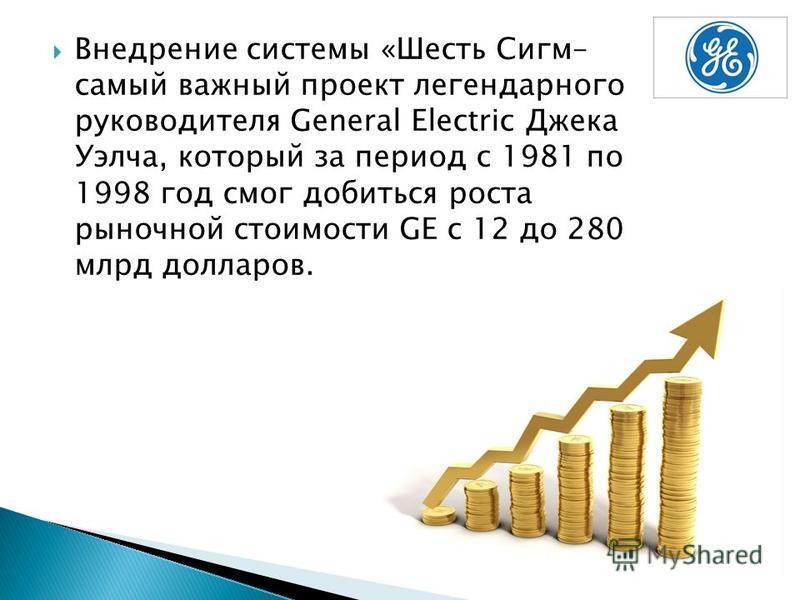 Внедрение системы «Шесть Сигм– самый важный проект легендарного руководителя General Electric Джека Уэлча, который за период с 1981 по 1998 год смог добиться роста рыночной стоимости GE c 12 до 280 млрд долларов.