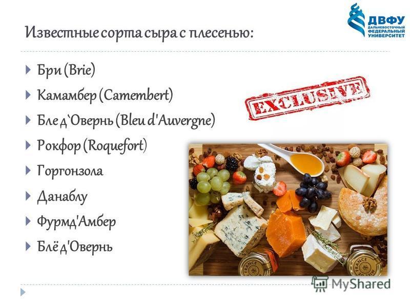 Известные сорта сыра с плесенью: Бри (Brie) Камамбер (Camembert) Бле д`Овернь (Bleu d'Auvergne) Рокфор (Roquefort) Горгонзола Данаблу Фурмд'Амбер Блё д'Овернь