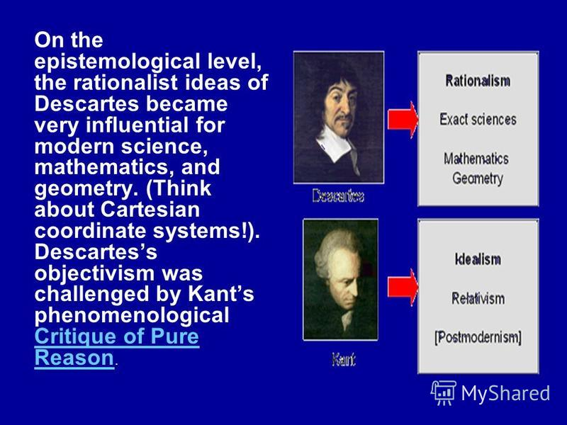 On the epistemological level, the rationalist ideas of Descartes became very influential for modern science, mathematics, and geometry. (Think about Cartesian coordinate systems!). Descartess objectivism was challenged by Kants phenomenological Criti