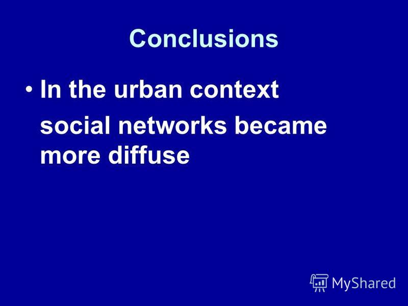 In the urban context social networks became more diffuse Conclusions