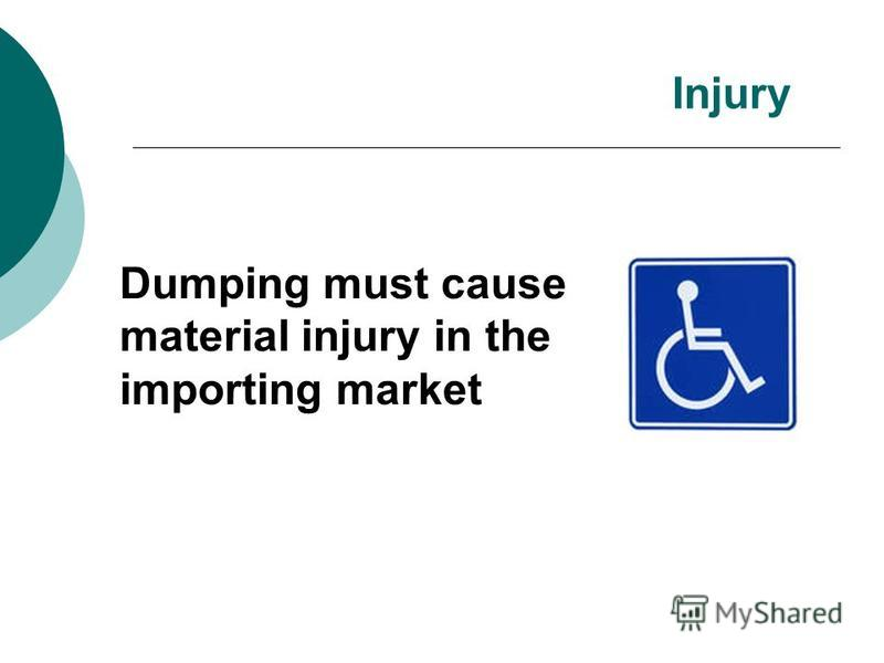 Dumping must cause material injury in the importing market Injury