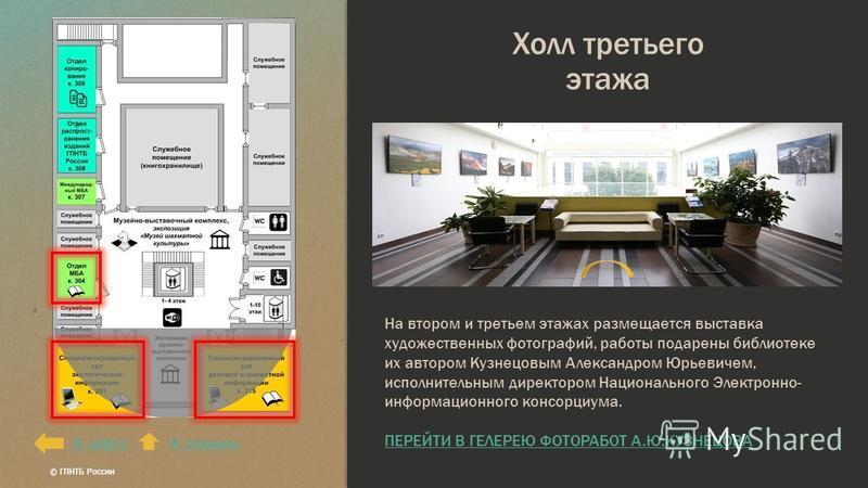 Холл третьего этажа К лифтуК этажам На втором и третьем этажах размещается выставка художественных фотографий, работы подарены библиотеке их автором Кузнецовым Александром Юрьевичем, исполнительным директором Национального Электронно- информационного