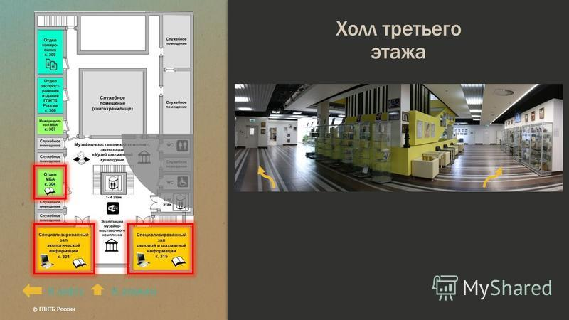 Холл третьего этажа К этажамК лифту © ГПНТБ России