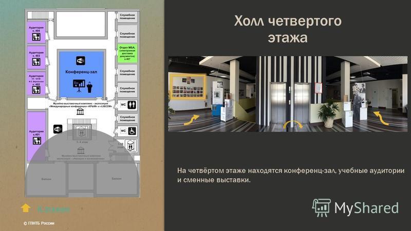 Холл четвертого этажа К этажам На четвёртом этаже находятся конференц-зал, учебные аудитории и сменные выставки. © ГПНТБ России