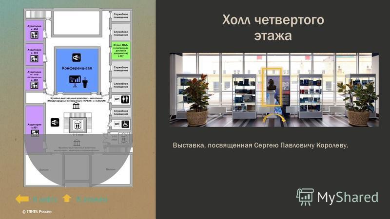 Холл четвертого этажа К лифтуК этажам Выставка, посвященная Сергею Павловичу Королеву. © ГПНТБ России