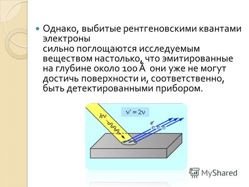 Однако, выбитые рентгеновскими квантами электроны сильно поглощаются исследуемым веществом настолько, что эмитированные на глубине около 100 Å они уже не могут достичь поверхности и, соответственно, быть детектированными прибором.