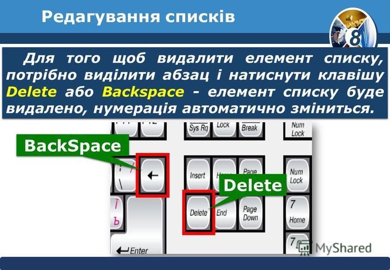 8 © Вивчаємо інформатику teach- inf.at.uateach- inf.at.ua Редагування списків Для того щоб видалити елемент списку, потрібно виділити абзац і натиснути клавішу Delete або Backspace - елемент списку буде видалено, нумерація автоматично зміниться. Back