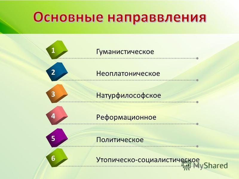 Реформационное 4 Гуманистическое 1 Неоплатоническое 2 Натурфилософское 3 Политическое 5 Утопическо-социалистическое 6