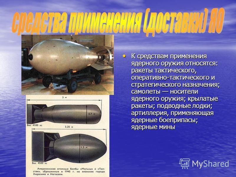 К средствам применения ядерного оружия относятся: ракеты тактического, оперативно-тактического и стратегического назначения; самолеты носители ядерного оружия; крылатые ракеты; подводные лодки; артиллерия, применяющая ядерные боеприпасы; ядерные мины
