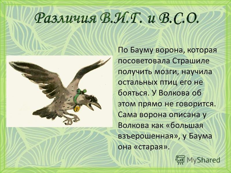 По Бауму ворона, которая посоветовала Страшиле получить мозги, научила остальных птиц его не бояться. У Волкова об этом прямо не говорится. Сама ворона описана у Волкова как «большая взъерошенная», у Баума она «старая».