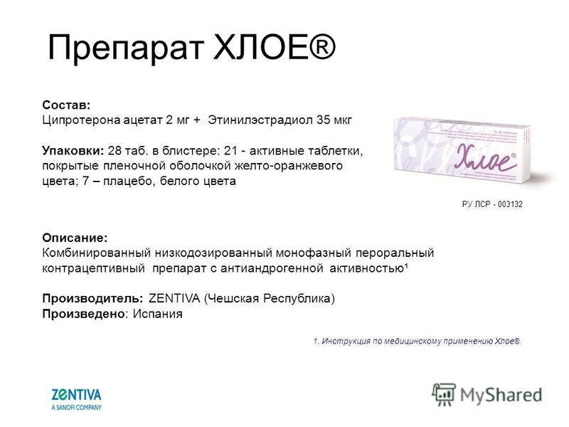 Препарат ХЛОЕ® Описание: Комбинированный низкодозированный монофазный пероральный контрацептивный препарат с антиандрогенной активностью¹ Производитель: ZENTIVA (Чешская Республика) Произведено: Испания 1. Инструкция по медицинскому применению Хлое ®