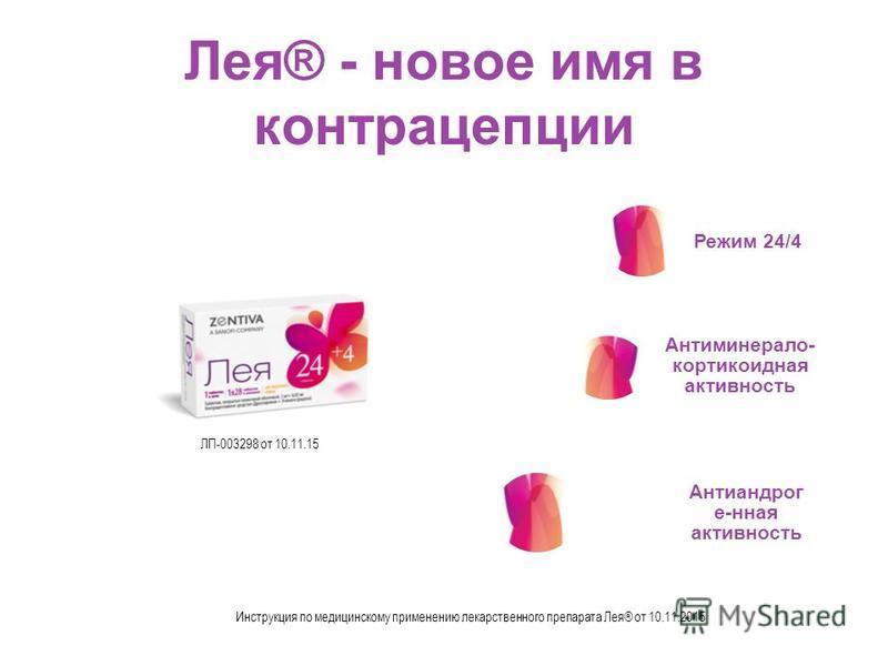 Лея® - новое имя в контрацепции Режим 24/4 Антиминерало- кортикоидная активность Антиандрог е-нная активность Инструкция по медицинскому применению лекарственного препарата Лея® от 10.11.2015 ЛП-003298 от 10.11.15