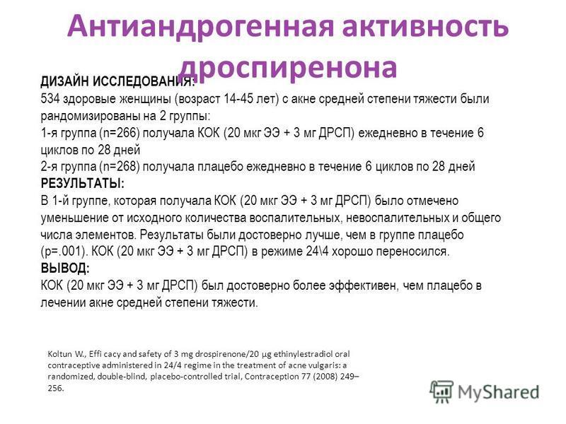 ДИЗАЙН ИССЛЕДОВАНИЯ: 534 здоровые женщины (возраст 14-45 лет) с акне средней степени тяжести были рандомизированы на 2 группы: 1-я группа (n=266) получала КОК (20 мкг ЭЭ + 3 мг ДРСП) ежедневно в течение 6 циклов по 28 дней 2-я группа (n=268) получала